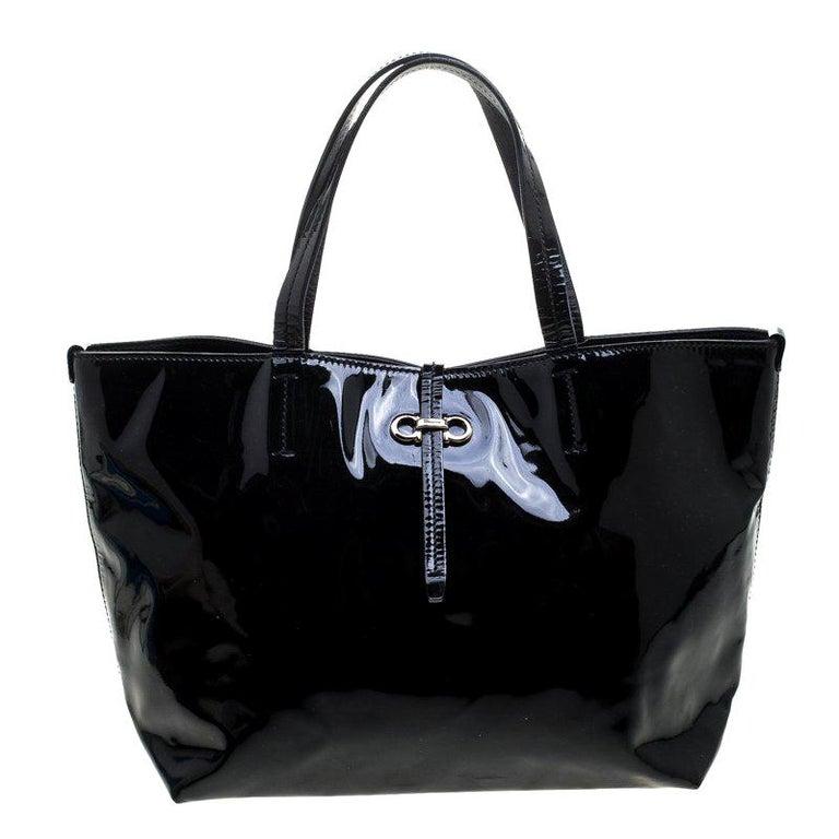 f67c9a3e1a Salvatore Ferragamo Black Patent Leather Small Gavina Tote For Sale ...