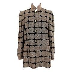 1990s Gai Mattiolo Black Gold Paisley Silk Vintage Jacket Blazer