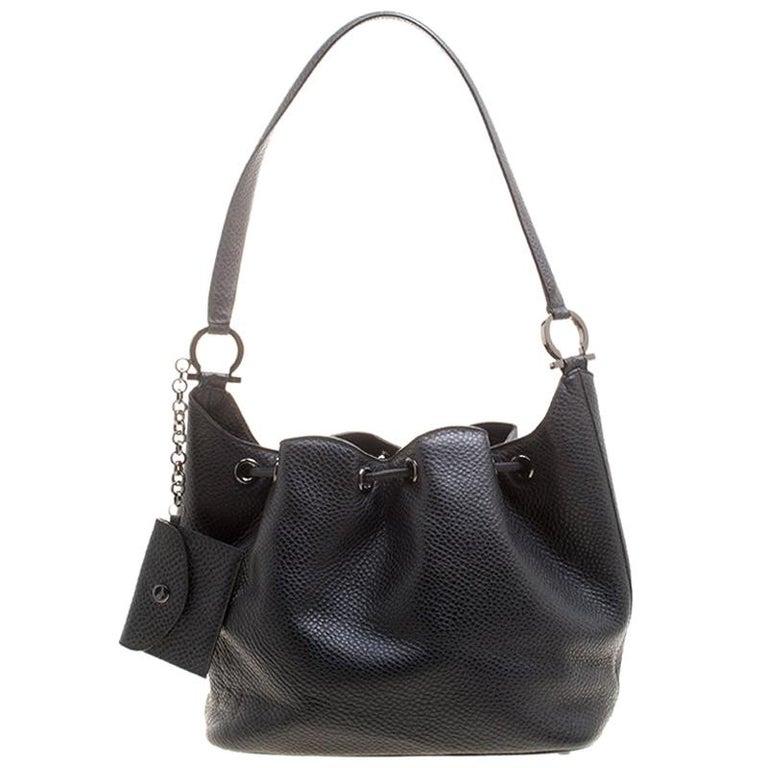 ffd146396e Salvatore Ferragamo Black Pebbled Leather Drawstring Hobo For Sale ...