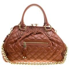 Marc Jacobs Cognac Quilted Leather Stam Shoulder Bag
