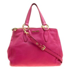 Miu Miu Pink Pebbled Leather Double Zip Convertible Tote