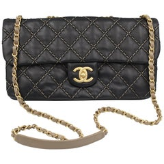 Chanel 2014 Black Stiched Timeless  Bag with back Zipped Pocket