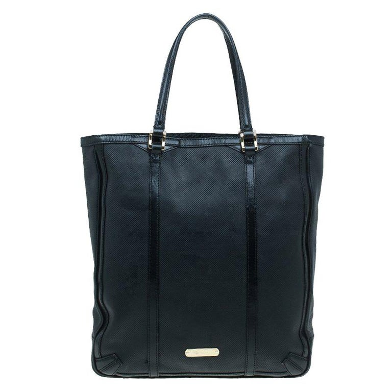 8fd09ff2060c Burberry Black Perforated Leather Medium Tote For Sale at 1stdibs