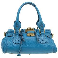 Chloe Blue Leather Medium Paddington Satchel