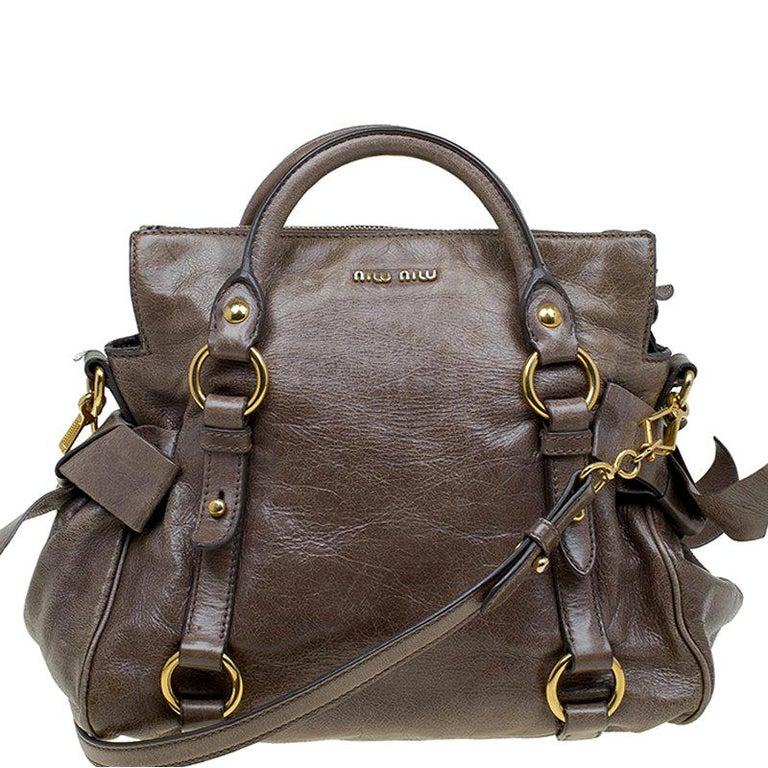 98ec80109d7 Miu Miu Dark Grey Vitello Lux Leather Bow Top Handle Bag For Sale at ...