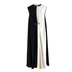 Sportmax Black and White Gathered Hook Dress US 4