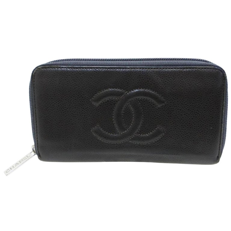 84bff7859043 Chanel Black/Grey Caviar Timeless L-gusset Zip 226745 Wallet For Sale