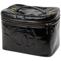Chanel Black Vanity Case Extra Large Patent Tote 226581 Cosmetic Bag