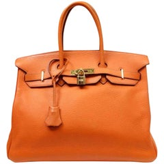 Hermès Birkin 35 (226565) Orange Clemence Leather Satchel