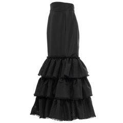 Oscar de la Renta Black Punched Silk Faille Evening Skirt, Fall 2001