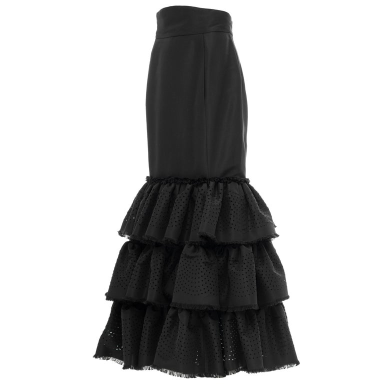 Oscar de la Renta Black Punched Silk Faille Evening Skirt, Fall 2001 For Sale