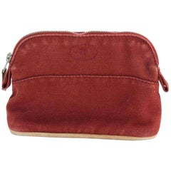 Hermès Bolide Cosmetic Pouch 226611 Red Coated Canvas Clutch