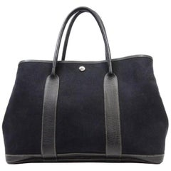 Hermès Garden Party 226583 Black Coated Canvas Tote