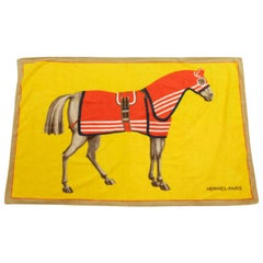 Hermès, gelb und Orange, Pferd, Logo H Handtuch 226863