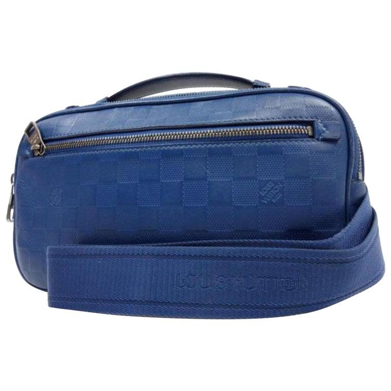 fd7497d712c8 Louis Vuitton Damier Ambler Fanny Pack 226779 Blue Infini Leather Cross  Body Bag For Sale