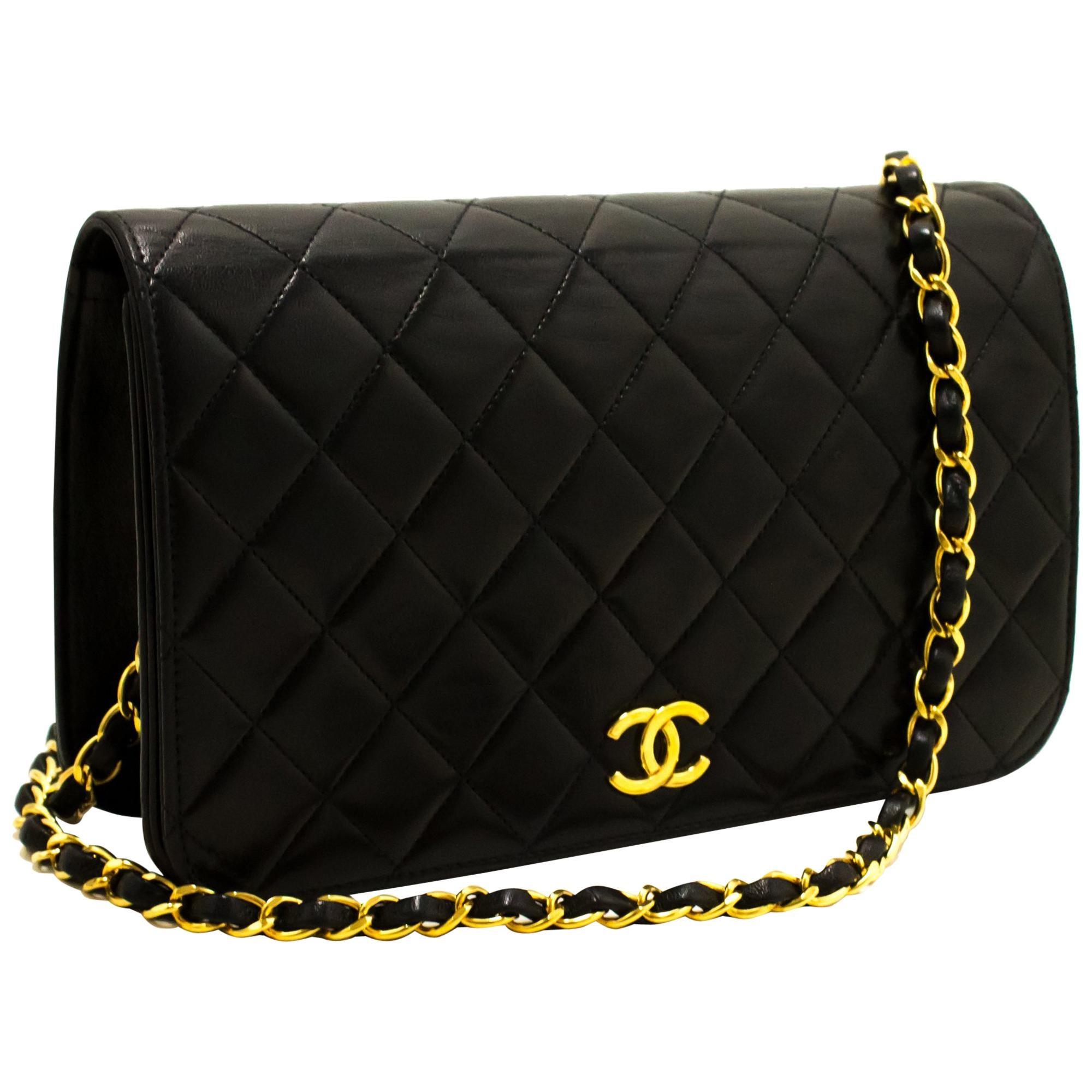 CHANEL Chain Shoulder Bag Black Clutch Flap