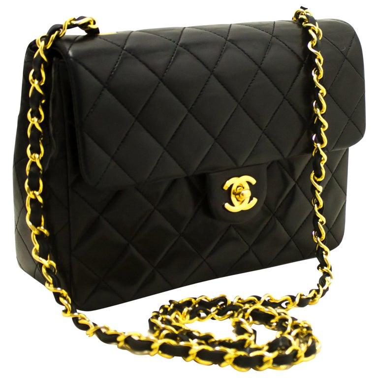 39d122f091d9d0 CHANEL Mini Square Small Chain Shoulder Crossbody Bag Black at 1stdibs