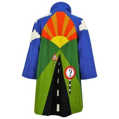 Moschino Vintage Road Sign Applique Novelty Coat US Size 6