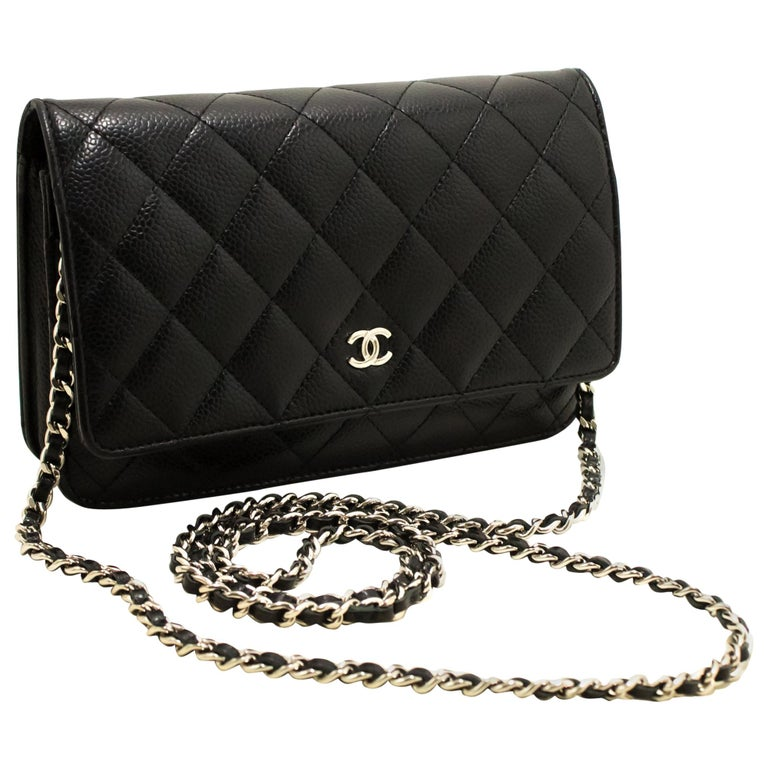 aa3d920d5fe294 CHANEL Caviar WOC Wallet On Chain Black Shoulder Crossbody Bag For Sale