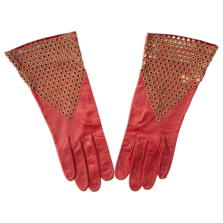 Azzedine Alaia Oxblood Leather Bronze Appliquéd Grommets Gloves, Circa: 1980's
