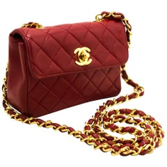 CHANEL Red Mini Very Small Chain Shoulder Crossbody Bag Quilted