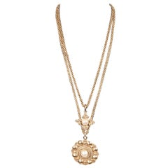 03d8b65ed606bf Chanel Vintage Gold Metal 2 Row Long Pendant Necklace with Medallions