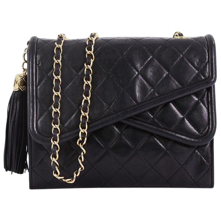 870323461bd1 Chanel Vintage Crossover Flap Bag Quilted Lambskin Small at 1stdibs