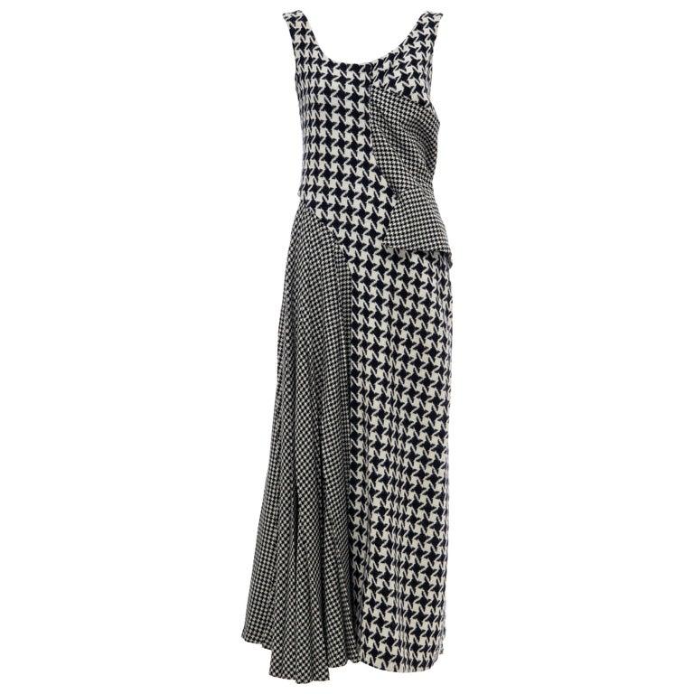 Yohji Yamamoto Runway Wool Navy Black Houndstooth Sleeveless Dress, Fall 2003 For Sale