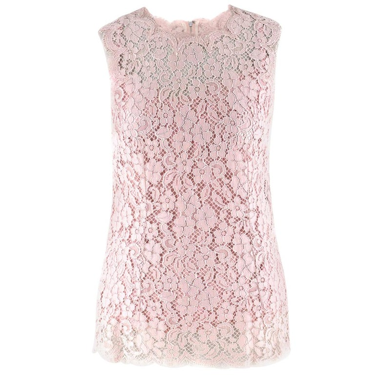 c29267c5d8039f Dolce and Gabbana Blush Pink Lace Top US 4 For Sale at 1stdibs