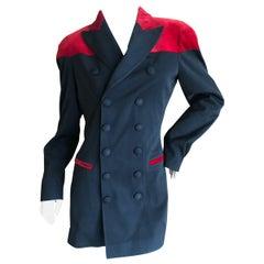 Jean Paul Gaultier Femme Vintage Velvet Trimmed Double Breasted Tuxedo Jacket
