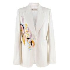 Emilio Pucci embroidered white twill blazer US 8
