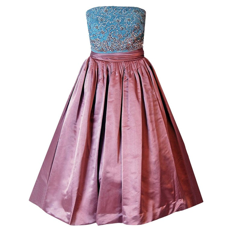 165319df260 1950 s Couture Mauve Satin   Beaded Light-Blue Velvet Strapless Party Dress  ...