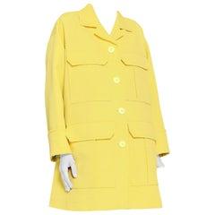 Emilio Pucci yellow matelasse oversized coat US 8
