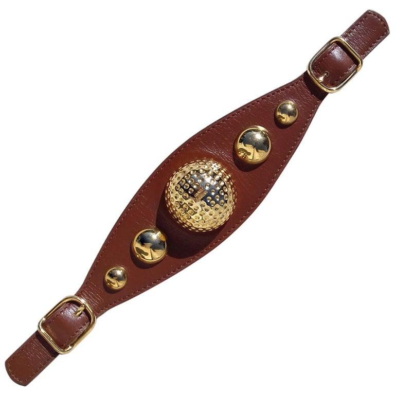 Hermès Vintage Ornament for Hermès Skirt Golf Pattern Hdw Brown Leather For Sale
