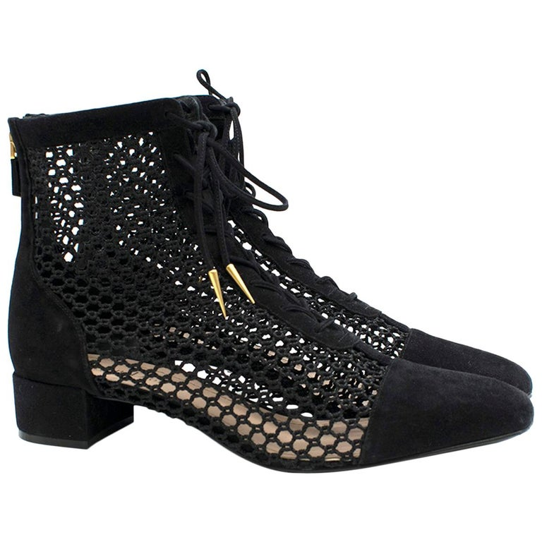 6c948f4a205 Dior Black Suede and Mesh Naughtily-d Ankle Boots US 10 For Sale at ...