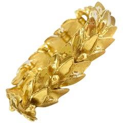 YSL 1980s Vintage Gold Plated Leaf Design Bracelet