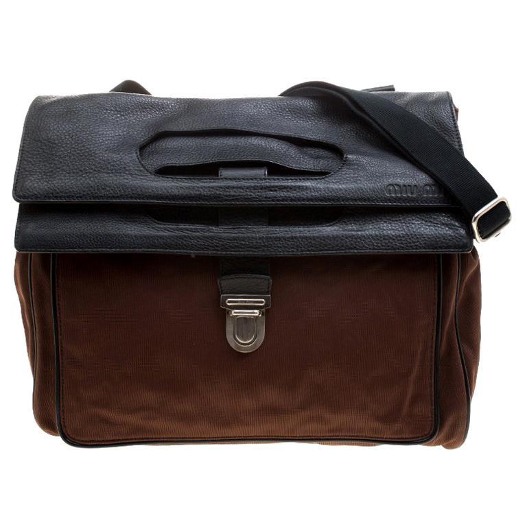 Miu Miu Brown/Black Nylon and Leather Messenger Bag For Sale