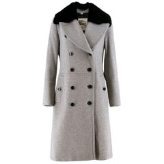 Burberry Grey Wool and Cashmere Coat with Rabbit Fur Collar US 8