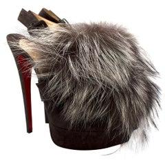 Christian Louboutin Grey Fox Fur Splash Slingback Heels US 8.5