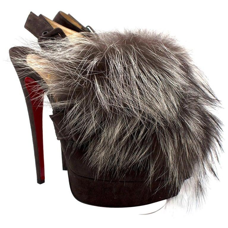 Christian Louboutin Grey Fox Fur Splash Slingback Heels US 8.5 For Sale