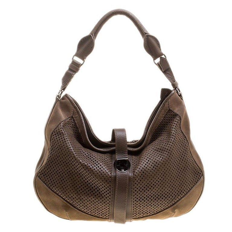 96b3aa5fa4de Burberry Khaki Perforated Leather and Suede Bartow Hobo For Sale at ...