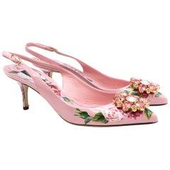 Dolce & Gabbana crystal-embellished pink floral pumps US 9