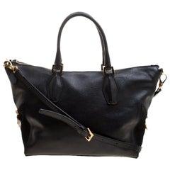 Tod's Black Leather ALR Tracolla Piccola Shopper Tote