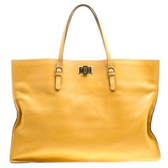 Lanvin Yellow Leather Flat Turnlock Tote