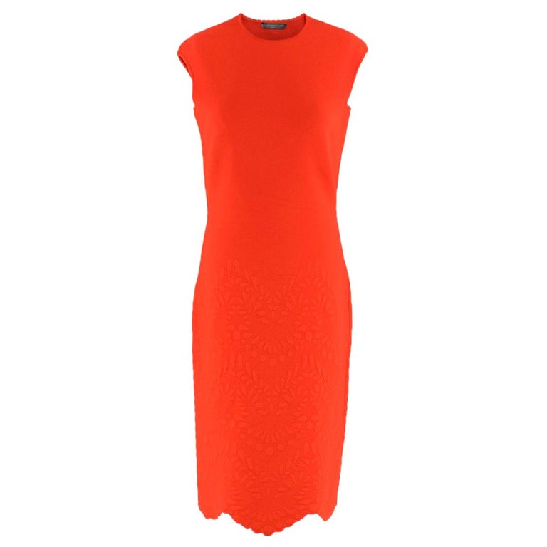 Alexander McQueen Red Jacquard Knit Fitted Dress US 8 For Sale