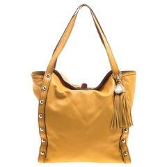 Lanvin Orange Leather Tassel Tote