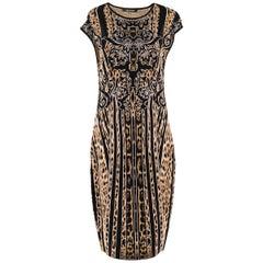 Roberto Cavalli leopard-jacquard knit dress US 8