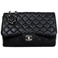 Chanel Black Caviar Leather Quilted Single Flap Jumbo Classic Bag W/ SHW