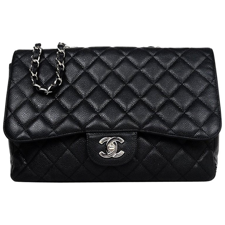 d583b895bc0468 Chanel Black Caviar Leather Quilted Single Flap Jumbo Classic Bag W/ SHW For  Sale