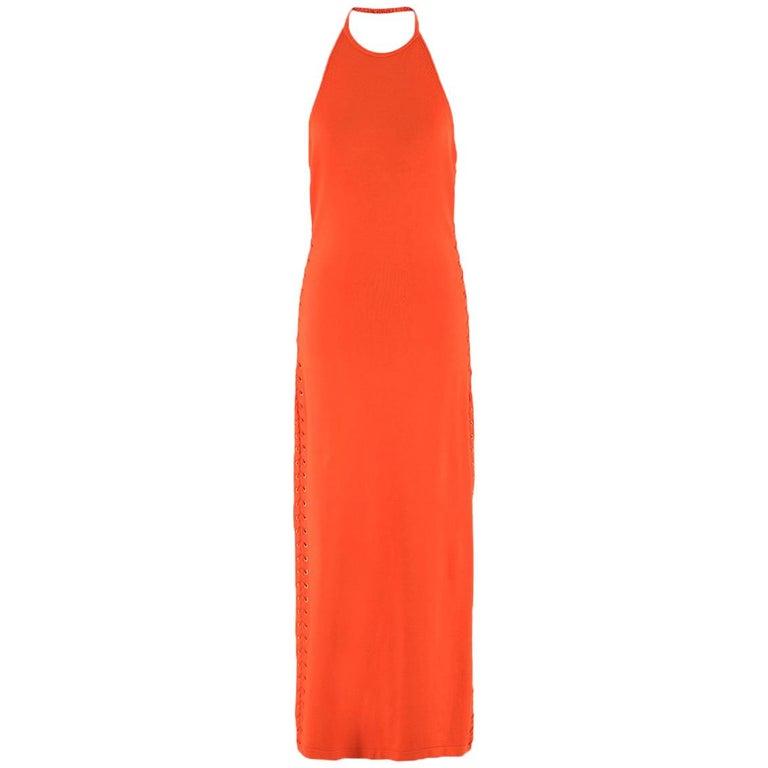 Balmain orange lace-up halterneck midi dress US 8 For Sale
